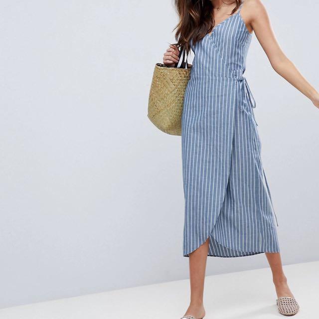 8661edd9f05 ASOS Linen Wrap Side Maxi Dress
