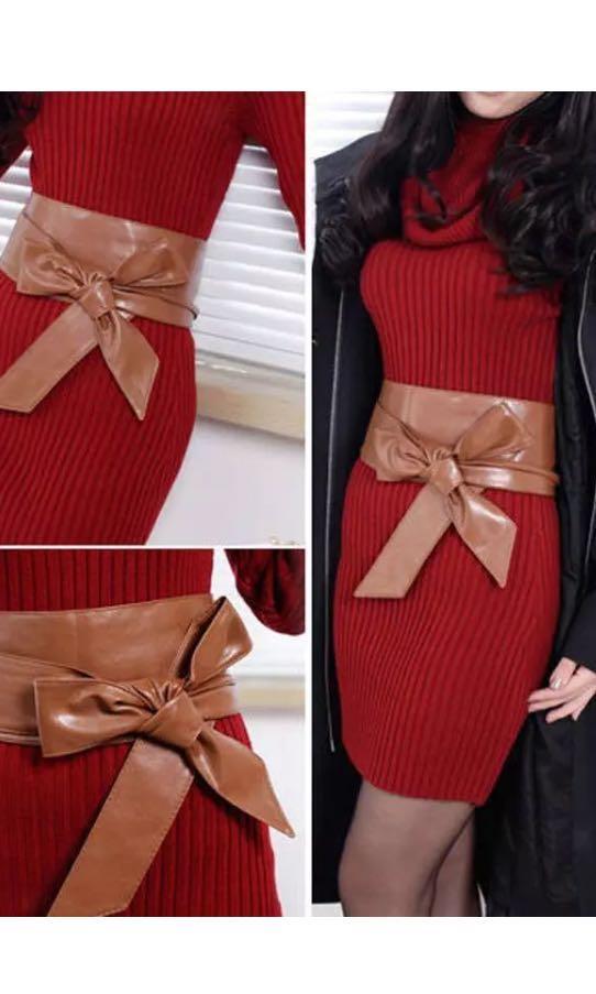 Brown tie up wrap around waist corset belt