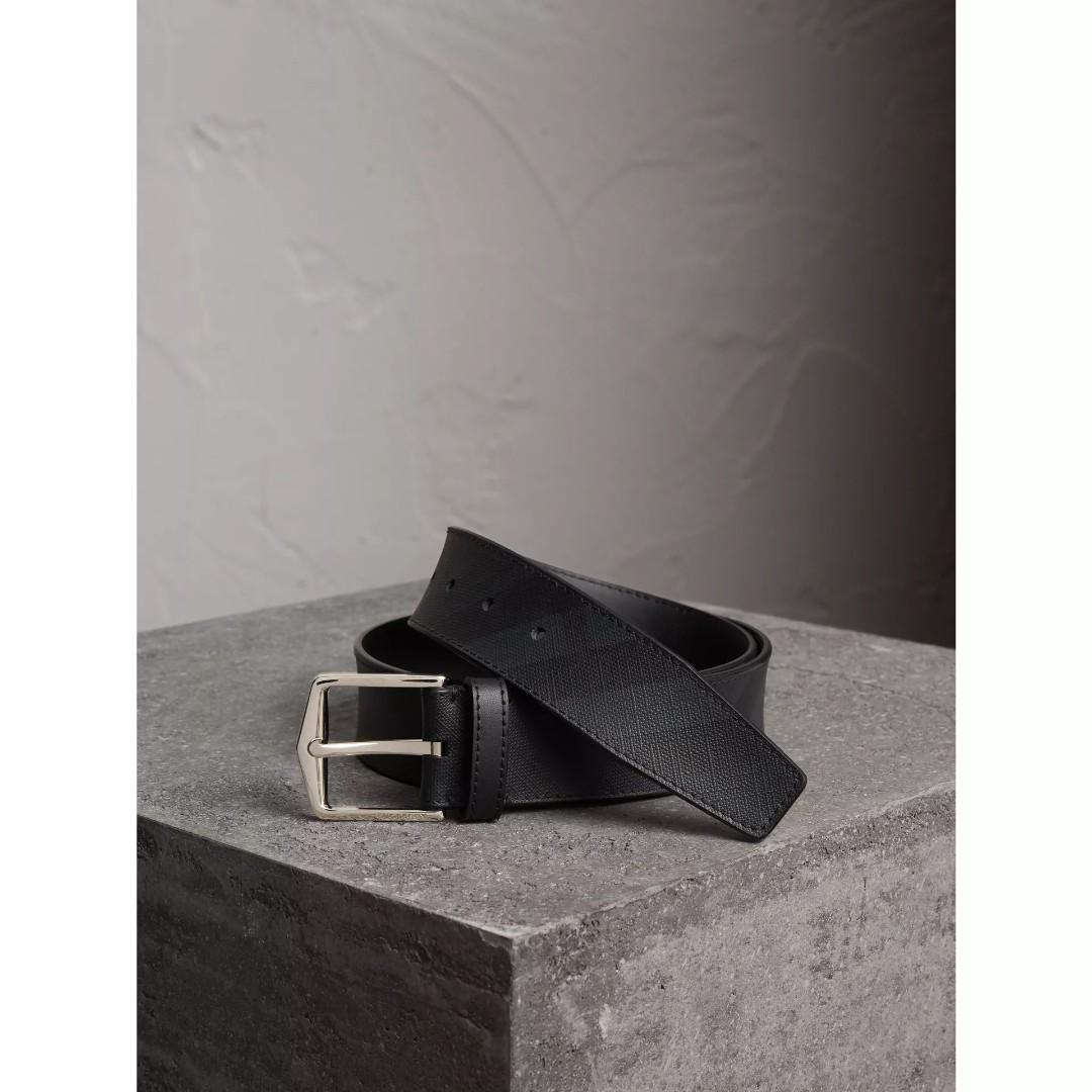07b349b9dbd Burberry Leather Trim London Check Belt Charcoal black