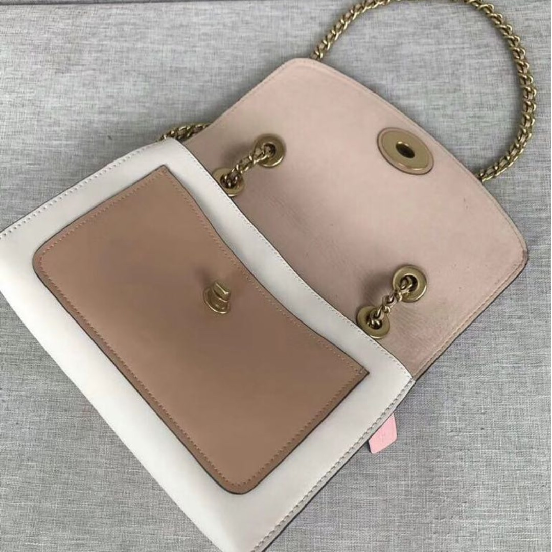 Coach 26851 Chain Bag Peach V1 Luxury Bags Wallets Sling Swagger 20 In Pebbled Leather Share This Listing