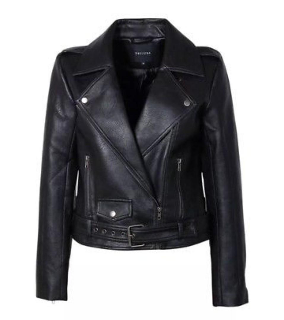 DECJUBA PU leather biker jacket Black Size 8
