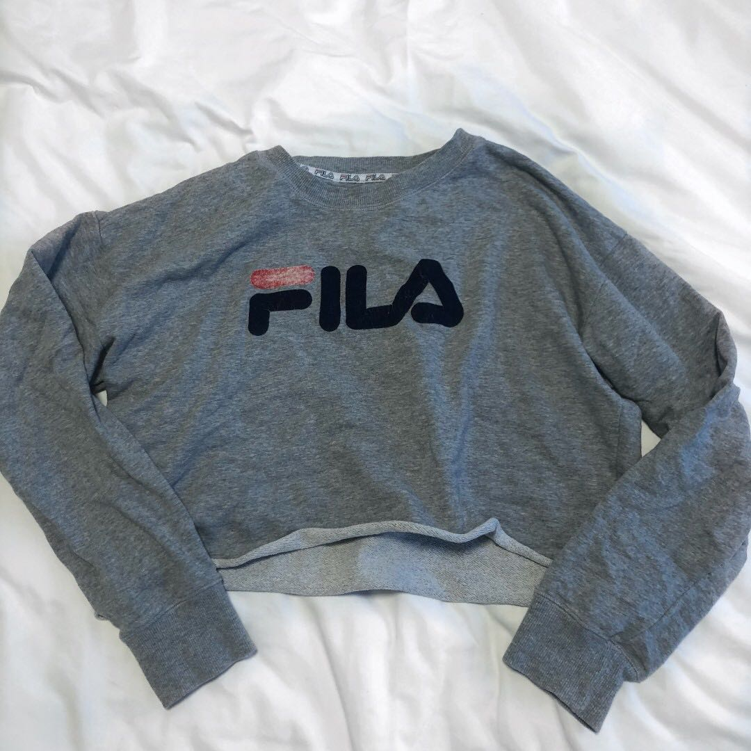 Fila grey cropped jumper, Women's Fashion, Clothes on Carousell