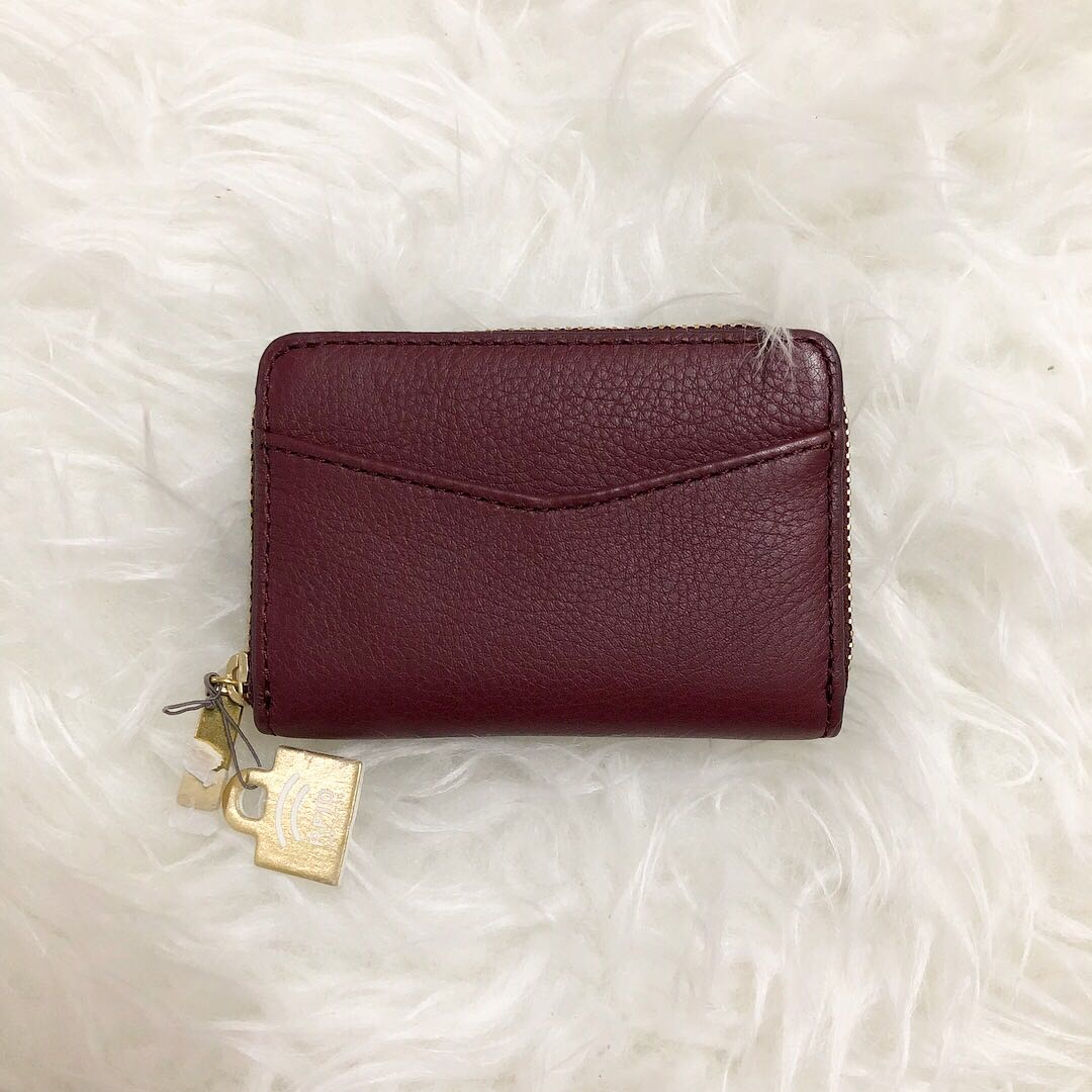 Fossil Mini Zip Car Holder Maroon Fesyen Wanita Beg Dan Duit Kendall Crossbody Navy Photo