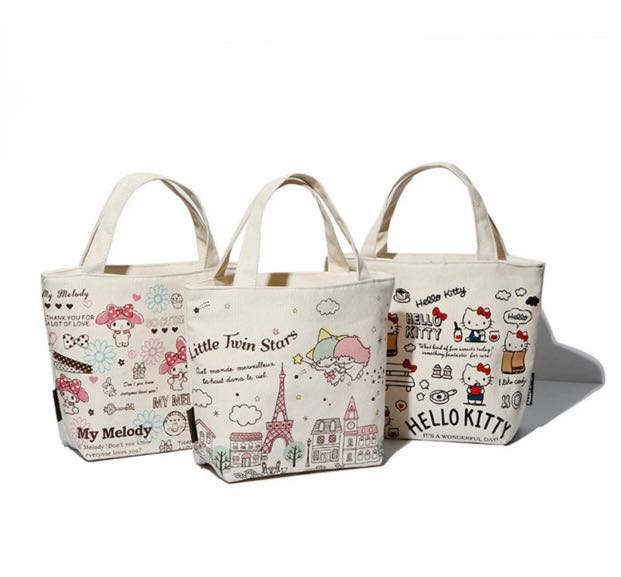 a6c3432af141 Kawaii Hello Kitty Little Twin Stars My Melody Canvas Kids Lunch Bag ...