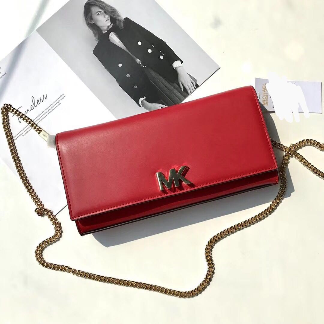 7404245689 Michael Kors Turnlock Nappa Leather WOC   wallet On Chain - red ...