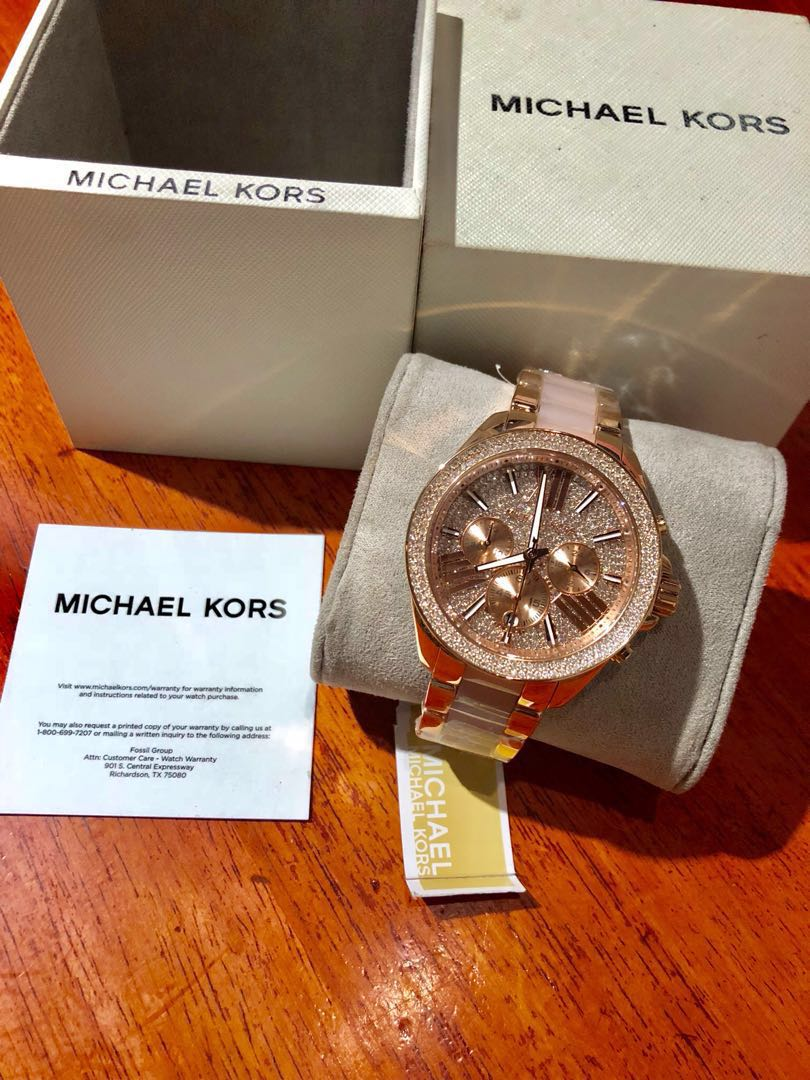 New Michael Kors Mk6096 Rose Gold Crystals Womens Fashion