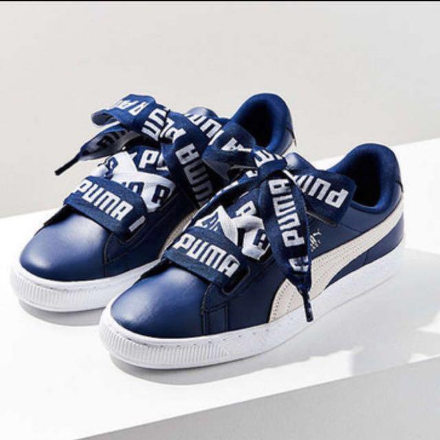 newest 6d004 84d39 Puma X Cara Delevingne Basket Heart in Blue, Women's Fashion ...