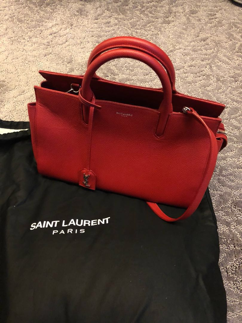 b1db68a9a3ee Saint Laurent Small Cabas Rive Gauche Bag in Red Grained Leather ...
