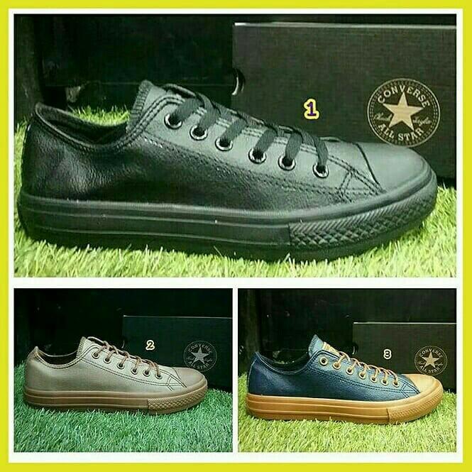Sepatu converse pria kulit terbaru 2018 murah branded hitam coklat navy  fullblack 3da43d01c6