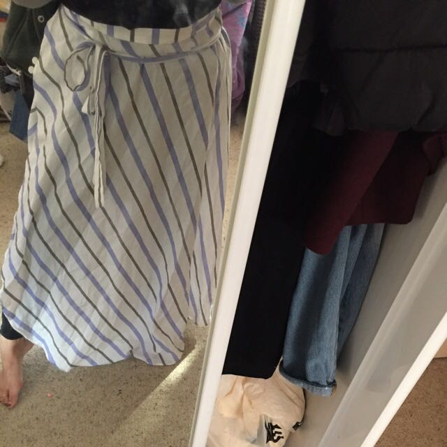 Striped maxi wrap tie up skirt with side slit