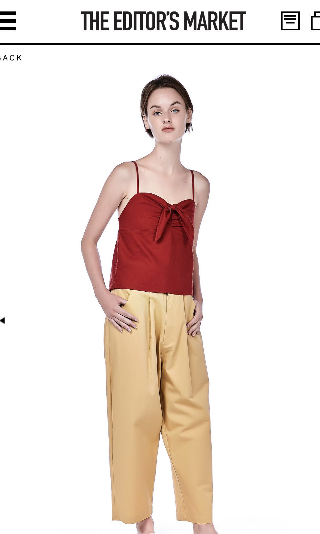 0683e2632d636f TEM Meara Front-Tie Crop Top in Maroon, Women's Fashion, Clothes ...