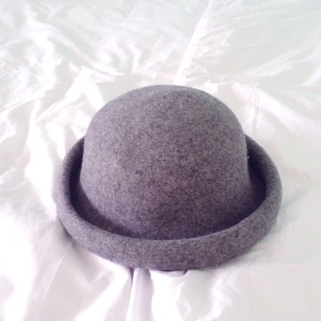 45570147b TOPSHOP Grey Felt Pork Pie Bowler Hat, Women's Fashion, Accessories ...