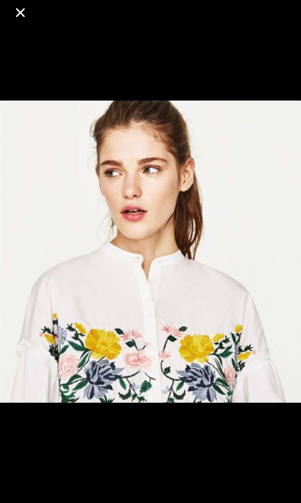 0837cfa21f Zara White Embroidered Long Sleeve Top