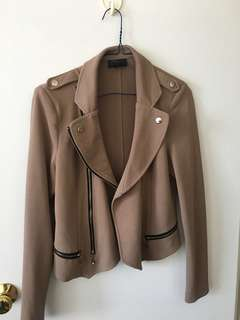 Beige Moto Jacket - Medium