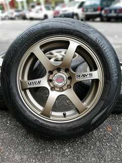 Te37 brohappy 15 inch tyre 70% sports rim almera. *ada nampak mummy tak happy??*