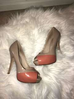 Nude & coral open toe pumps (size 7)