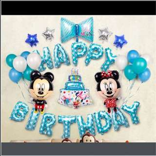 <In-stock> Happy Birthday Party decoration set - Mickey & Minnie (Blue)
