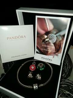 Preloved Pandora Charm, Bracelet, and Earrings