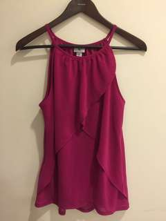 🚚 [OL百搭]紫紅·絲質/棉質雙材質·削肩·無袖上衣
