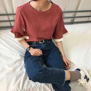 Roomee細條紋磚紅荷葉邊短袖五分袖上衣T恤