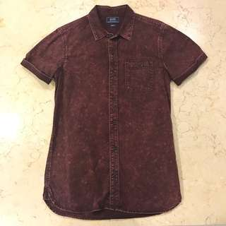 [BN] Ox Red Acid Wash Shirt