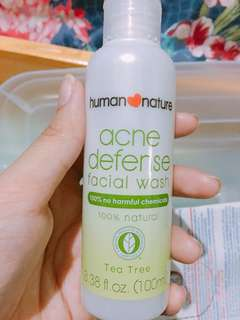 Human nature acne defense facial wash