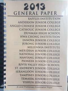 BRAND NEW H1 General Paper Compilation of All School Prelims 2013