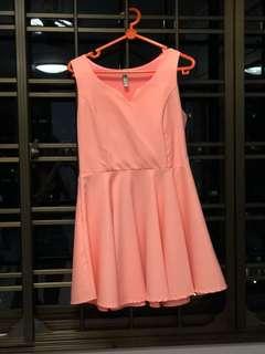 Neon Coral Skater Dress
