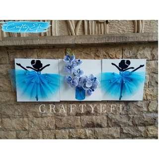 Lukisan Bunga 3D & Ballerina 30X30 Cm (3 Pcs) Blue Orchid