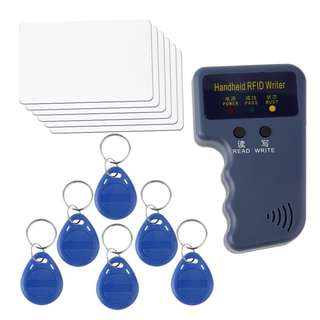 🚚 Handheld RFID 125KHz EM4100 EM410X ID Card Copier 6 Writable Tags And Cards - Popular