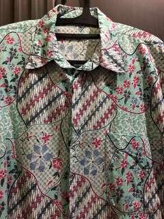 Green - Blue Batik Short Sleeves