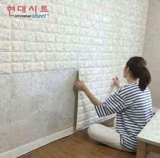 💢現貨💢<白色>3D立體磚紋牆紙