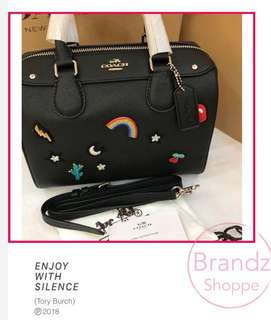 👍👍👍BEST DEAL! 💯% Authentic Coach Woman Rainbow 🌈 Patch Bennet Handbag / Crossbody / Sling Bag @ Black 👜(Ready Stock) 💝💝💝