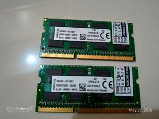 Kingston 16GB Ram DDR3L For Laptops 1600Mhz Low Voltage (8GBx2)