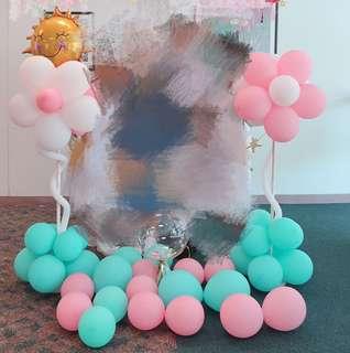 Tiffany色🌸花花氣球立柱婚禮慶祝生日派對佈置