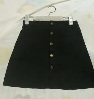 Blk Botton down Skirt