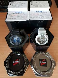 (Priced to sell) 2 x Casio G-Shock GA-100 (black and white)