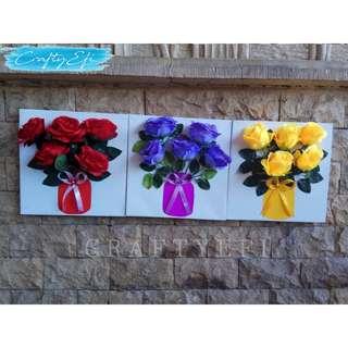 Lukisan Bunga 3D 30X30 Cm (3 Pcs) Triplet