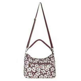 Authentic Cath Kidston Burgundy Floral Printed Tote with Sling