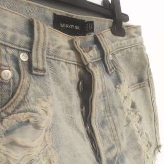 MinkPink High-Waisted Distressed Denim Shorts
