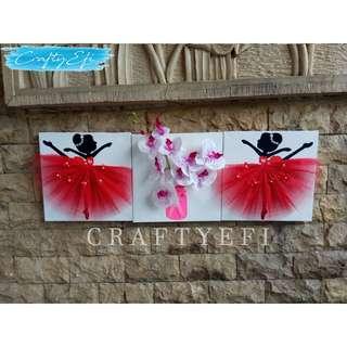 Lukisan Bunga 3D & Ballerina 30X30 Cm (3 Pcs) Pink Orchid