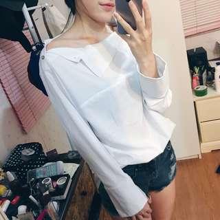 韓國露肩襯衫