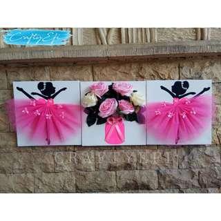 Lukisan Bunga 3D & Ballerina 30X30 Cm (3 Pcs) Beauty Pink