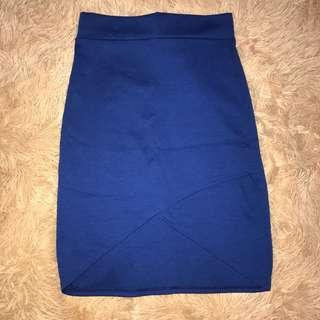 Blue overlap pencil skirt