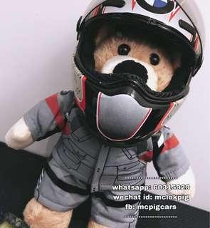 寶馬電單車小熊公仔連頭盔
