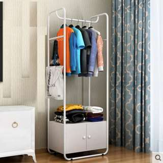 Clothes Rack with Cabinet (White)