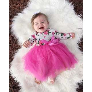 [PRE-ORDER] NEWBRON BABY GIRLS INFANT ROMPER JUMPSUIT BODYSUIT TULLE LACE DRESS