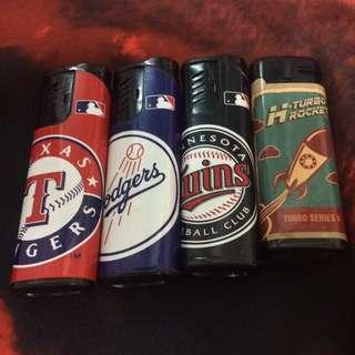 早期 收藏 MLB 美國職棒大聯盟 德州遊騎兵 洛杉磯道奇 明尼蘇達雙城 火箭 太空 打火機 職棒 棒球魂 防風 噴射式 賴打