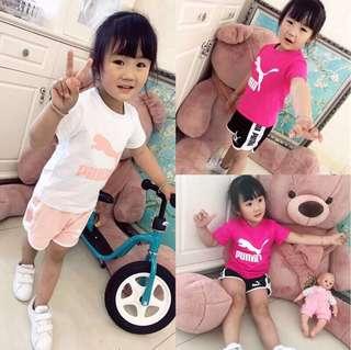 🚼《預》✨2018春夏新款✨代購 PUMA 小童大童 女款 粉色純棉休閒運動短袖T恤 兩件式套裝