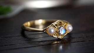 純銀鍍金淡水珍珠月亮石戒指